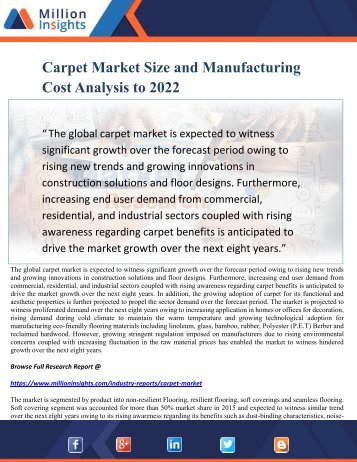 Carpet Market Size and Manufacturing Cost Analysis to 2022