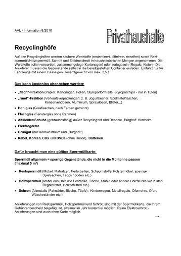 Recyclinghöfe - AVL