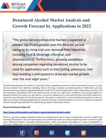 Denatured Alcohol Market Analysis and Growth Forecast by Applications to 2022