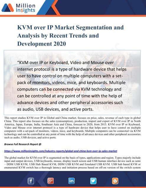 KVM over IP Market Segmentation and Analysis by Recent Trends and