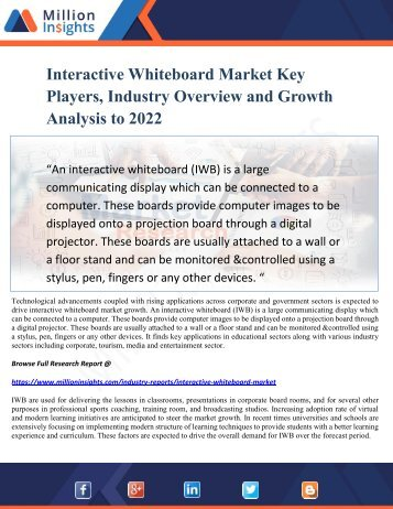 Interactive Whiteboard Market Key Players, Industry Overview and Growth Analysis to 2022
