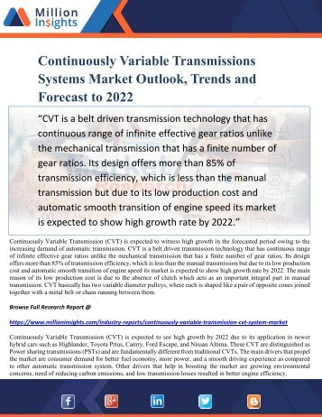 Continuously Variable Transmissions Systems Market Outlook, Trends and Forecast to 2022