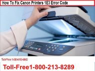 How To Fix Canon Printers 1E3 Error Code Call 1-800-213-8289