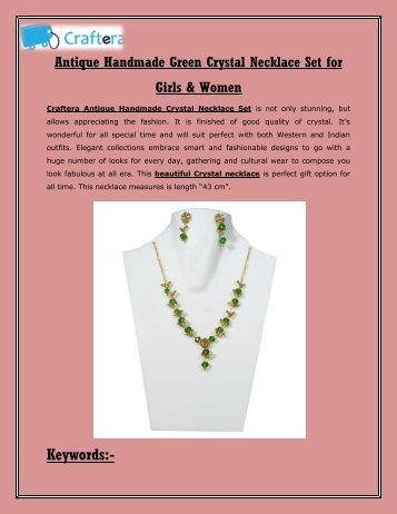 Antique Handmade Green Crystal Necklace Set for Girls & Women