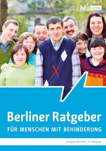 Berliner Ratgeber für Menschen mit Behinderung 2017/18