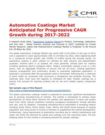 Automotive Coatings Market Anticipated for Progressive CAGR Growth during 2017-2022