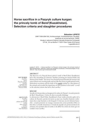 The role of horses in Scythian funeral rituals (Sebastien Lepetz)