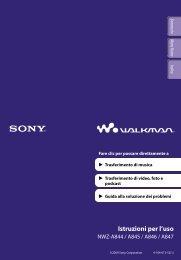Sony NWZ-A847 - NWZ-A847 Istruzioni per l'uso Italiano