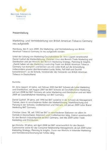 Pressemitteilung vom 09. Juni 2009 - British American Tobacco