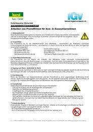 Arbeiten von Fremdfirmen für bzw. in Gaseunternehmen