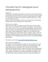 4 Excellent tips for making great soccer betting decisions