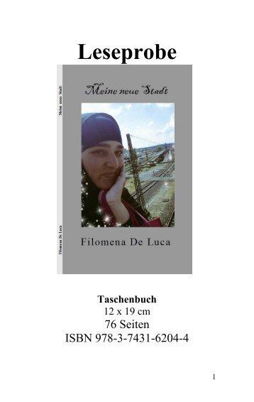 """Leseprobe """"Meine neue Stadt"""" von Filomena De Luca"""
