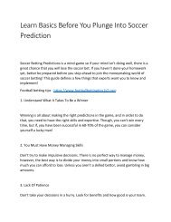 Learn Basics Before You Plunge Into Soccer Prediction