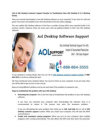 Aol Desktop customer support phone Number 1-888-664-3555
