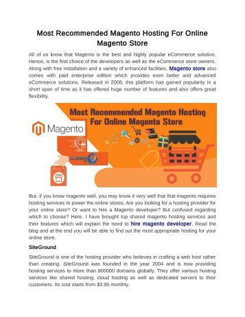 Most Recommended Magento Hosting For Online Magento Store