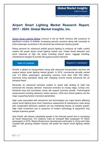 Airport Smart Lighting Market trends research and projections for 2017-2024