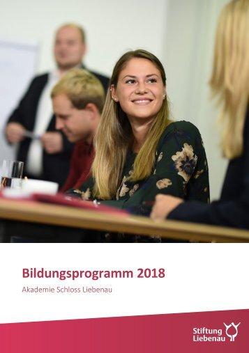 Bildungsprogramm 2018 - Akademie Schloss Liebenau