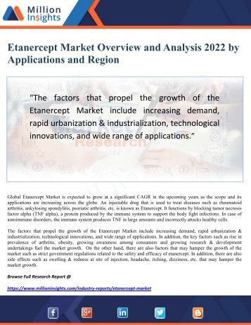 Etanercept Market Overview and Analysis 2022 by Applications and Region