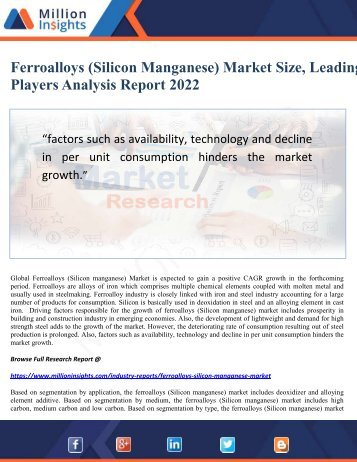 Ferroalloys (Silicon Manganese) Market Size, Leading Players Analysis Report 2022