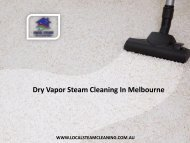 Dry Vapor Steam Cleaning In Melbourne