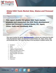 EDA Tools Market Size, Status, Share, Trends, Analysis and Forecast Report to 2022:Radiant Insights, Inc