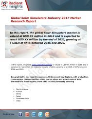 Solar Simulators Market Size, Share, Trends and Forecast Report to 2022:Radiant Insights, Inc