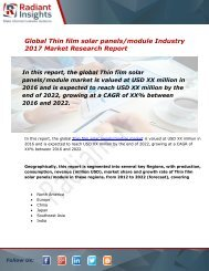 Thin film solar panels/module Market Size, Share, Trends, Analysis and Forecast Report to 2022:Radiant Insights, Inc