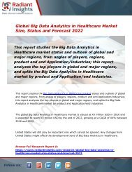 Big Data Analytics in Healthcare Market Size, Status, Share, Trends, Analysis and Forecast Report to 2022:Radiant Insights, Inc