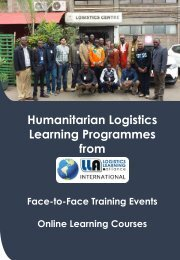 Humanitarian Logistics  Brochure 2017-18