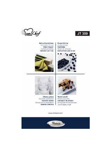 KitchenAid JT359 INOX - JT359 INOX RO (858735915790) Istruzioni per l'Uso