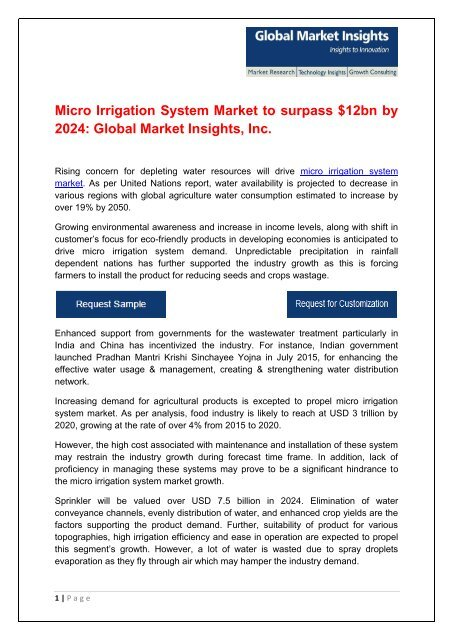 North America Micro Irrigation System Market to hit $3 5bn by 2024