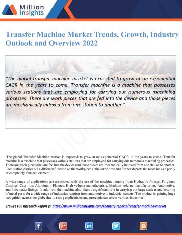 Transfer Machine Market Trends, Growth, Industry Outlook and Overview 2022
