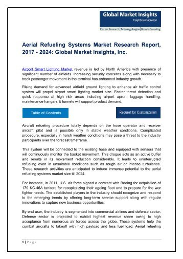Aerial Refueling Systems Market analysis research and trends report for 2017-2024