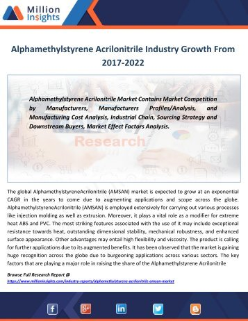 Alphamethylstyrene Acrilonitrile Industry Growth From 2017-2022