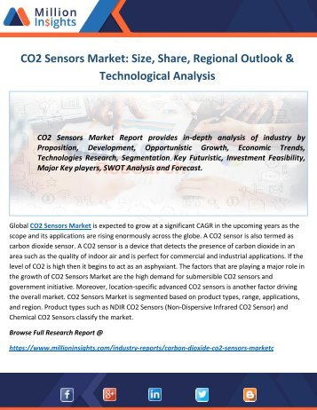 CO2 Sensors Market Share, Development, Growth & Trends - Forecast to 2022