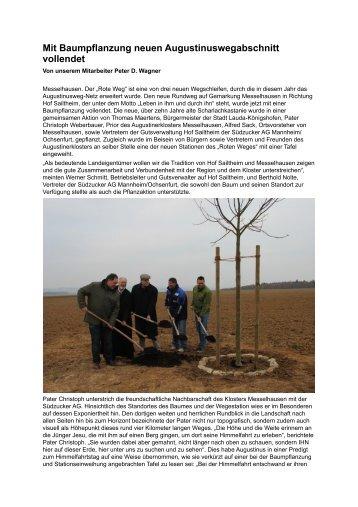 Mit Baumpflanzung neuen Augustinuswegabschnitt vollendet