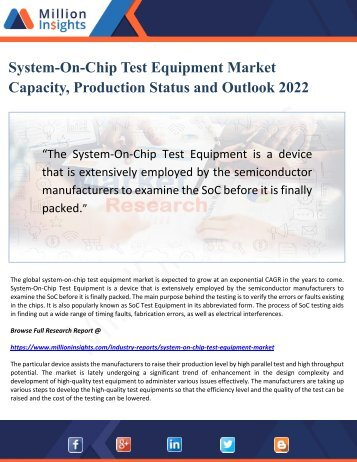 System-On-Chip Test Equipment Market Capacity, Production Status and Outlook 2022