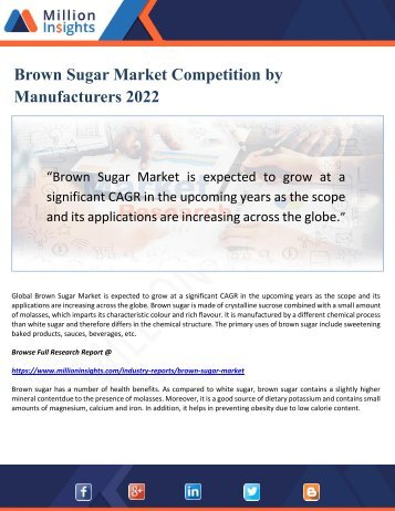 Brown Sugar Market Competition by Manufacturers 2022