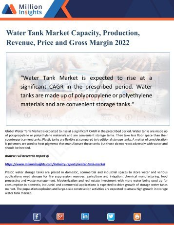 Water Tank Market Capacity, Production, Revenue, Price and Gross Margin 2022