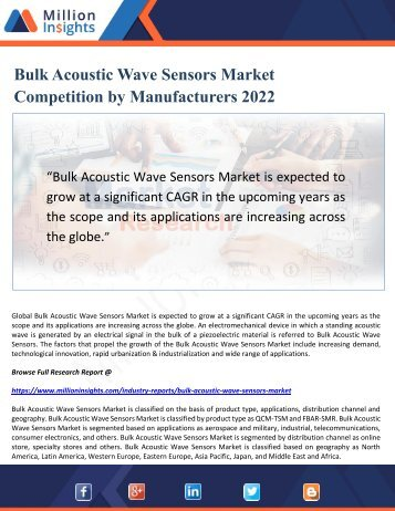 Bulk Acoustic Wave Sensors Market Competition by Manufacturers 2022