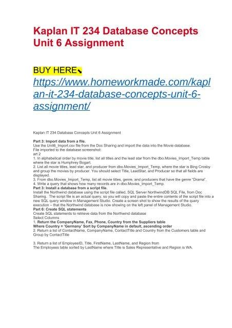 Kaplan IT 234 Database Concepts Unit 6 Assignment