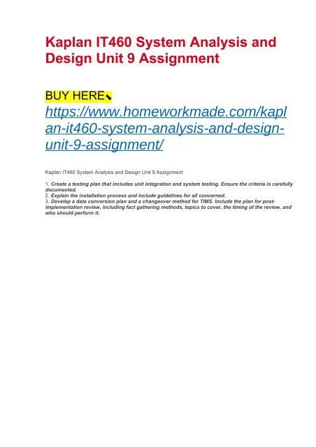 Kaplan It460 System Analysis And Design Unit 9 Assignment