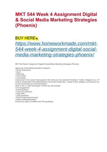 MKT 544 Week 4 Assignment Digital & Social Media Marketing Strategies (Phoenix)