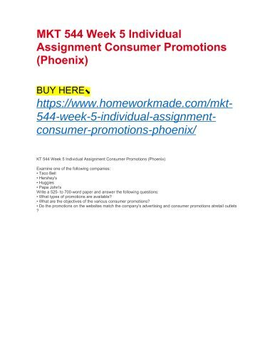 MKT 544 Week 5 Individual Assignment Consumer Promotions (Phoenix)