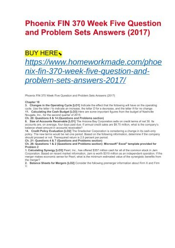 Phoenix FIN 370 Week Five Question and Problem Sets Answers (2017)