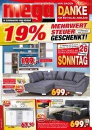 19% MWSt. geschenkt bei Mega Möbel in Schwandorf und Weiden!