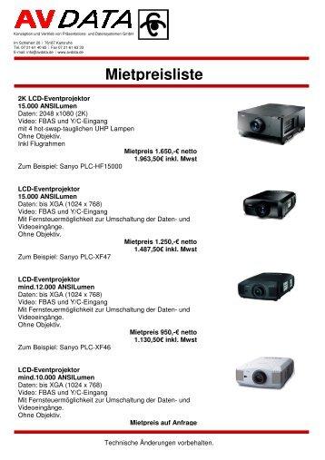 Mietpreisliste - AVData GmbH