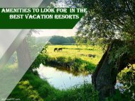 Amenities to Look For In the Best Vacation Resorts