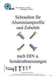 Schrauben für Aluminiumprofile und Zubehör nach DIN u ...