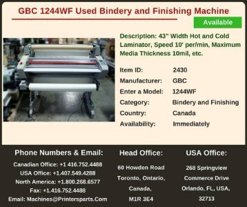 Buy Used GBC 1244WF Bindery and Finishing Machine